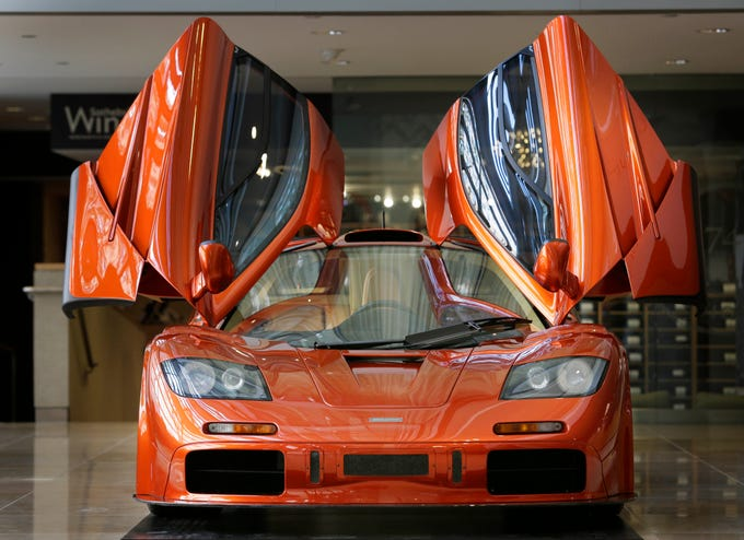 A McLaren F1 Supercar, whose estimated value is 12 million dollars, is displayed at Sotheby's in New York on June 3, 2015.