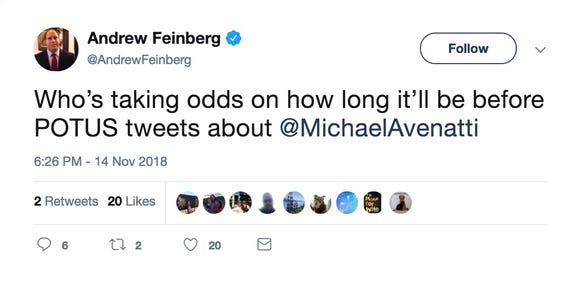 A tweet from @AndrewFeinberg.