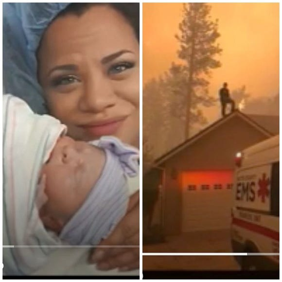 New mom Heather Roebuck escaped the deadly Camp Fire thanks for nurses, strangers and a homeowner.