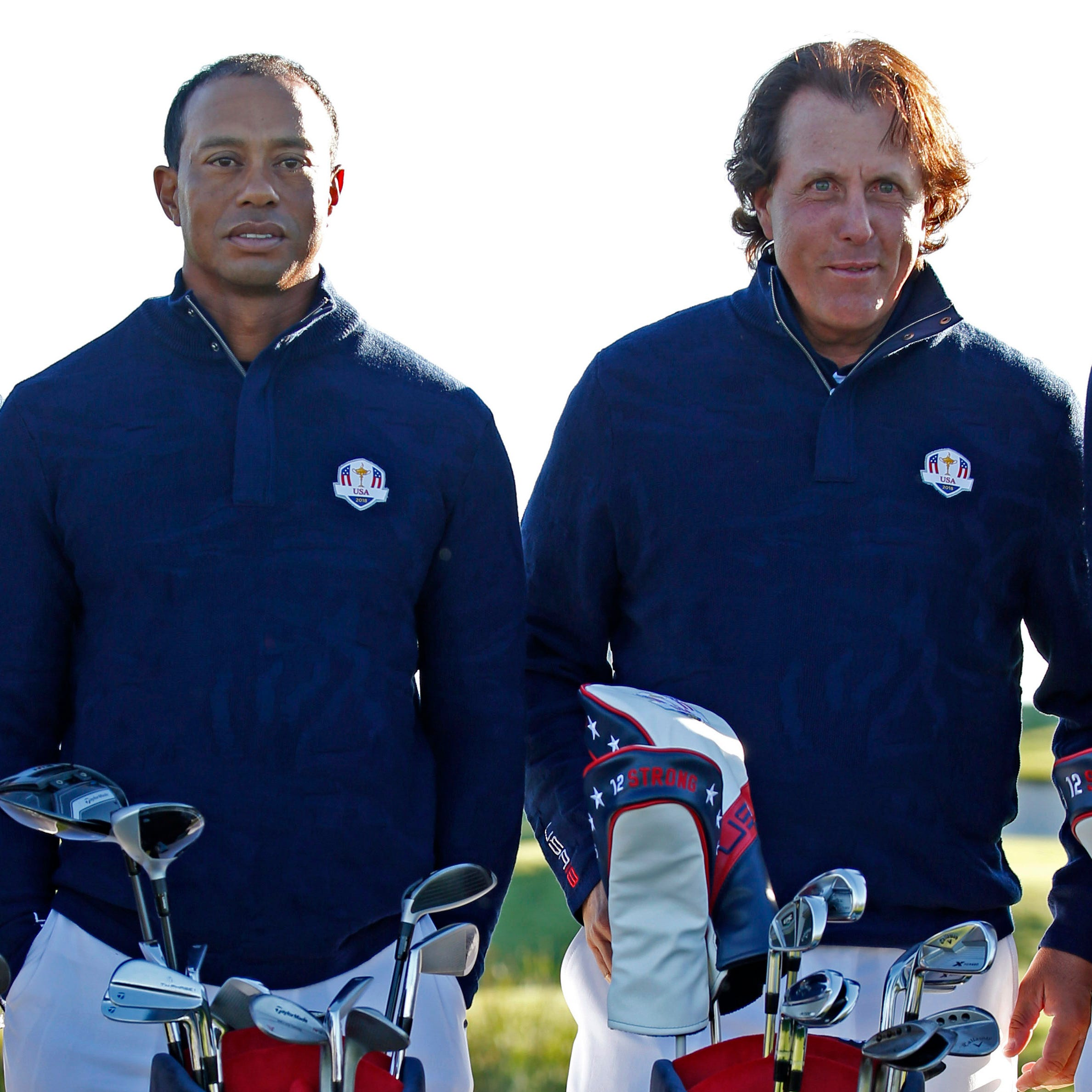 Tiger Woods (left) and Phil Mickelson pose for a photo during 2018 Ryder Cup practice