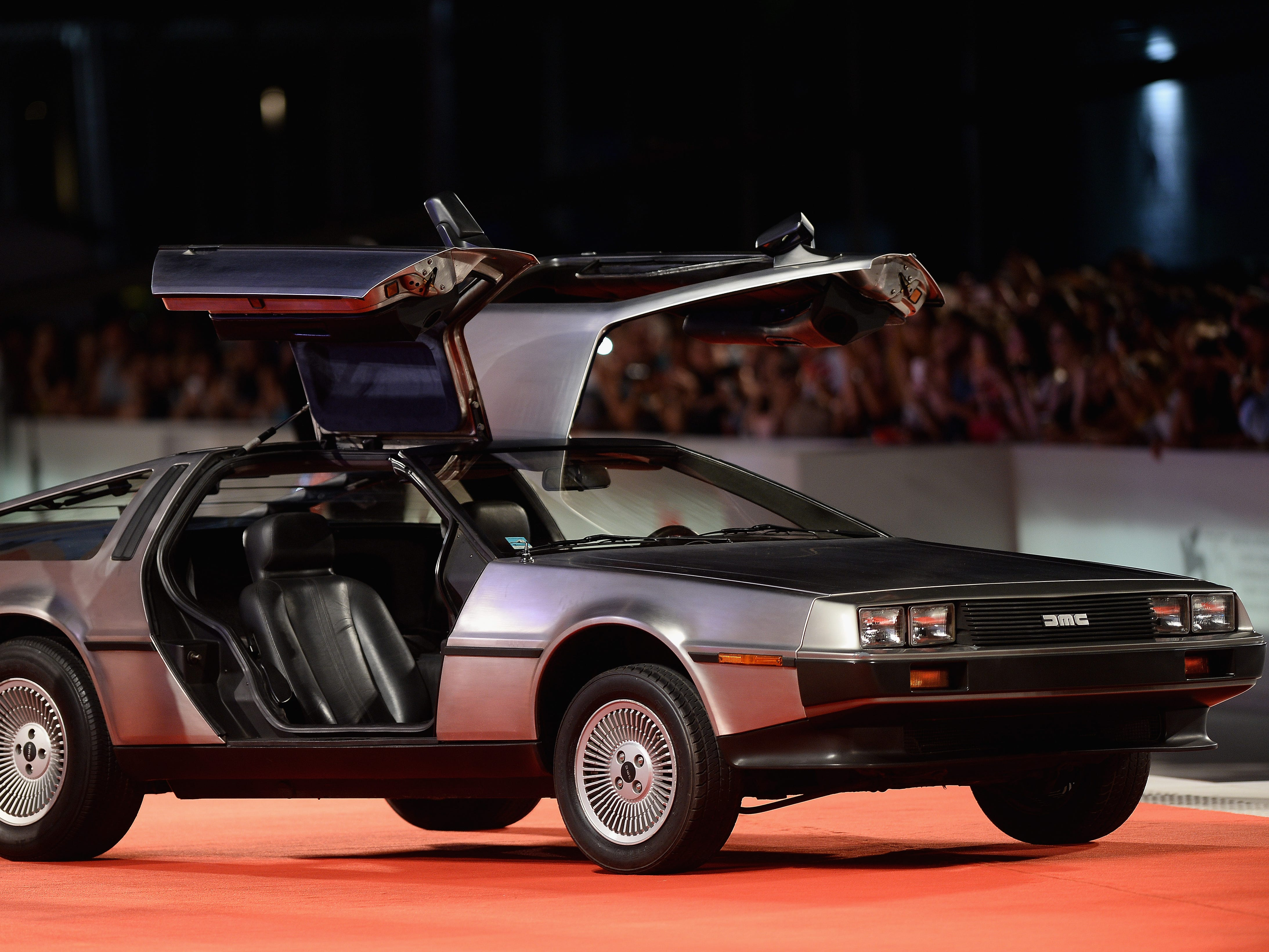 "A DeLorean is displayed on the red carpet ahead of the ""Driven"" Premiere and closing night during the 75th Venice Film Festival at Sala Grande on Sept. 8, 2018, in Venice, Italy."
