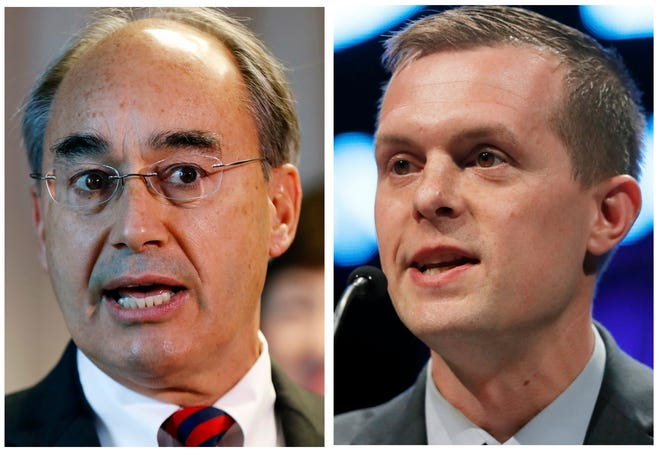 Rep. Bruce Poliquin, left, and state Rep. Jared Golden, right, in Maine. Golden defeated Poliquin for the 2nd District Congressional seat in the 2018 midterm election.