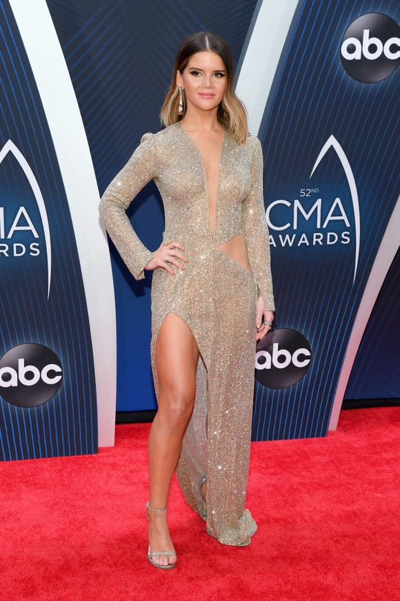 Maren Morris attends the 52nd annual CMA Awards in Nashville, Tennessee.