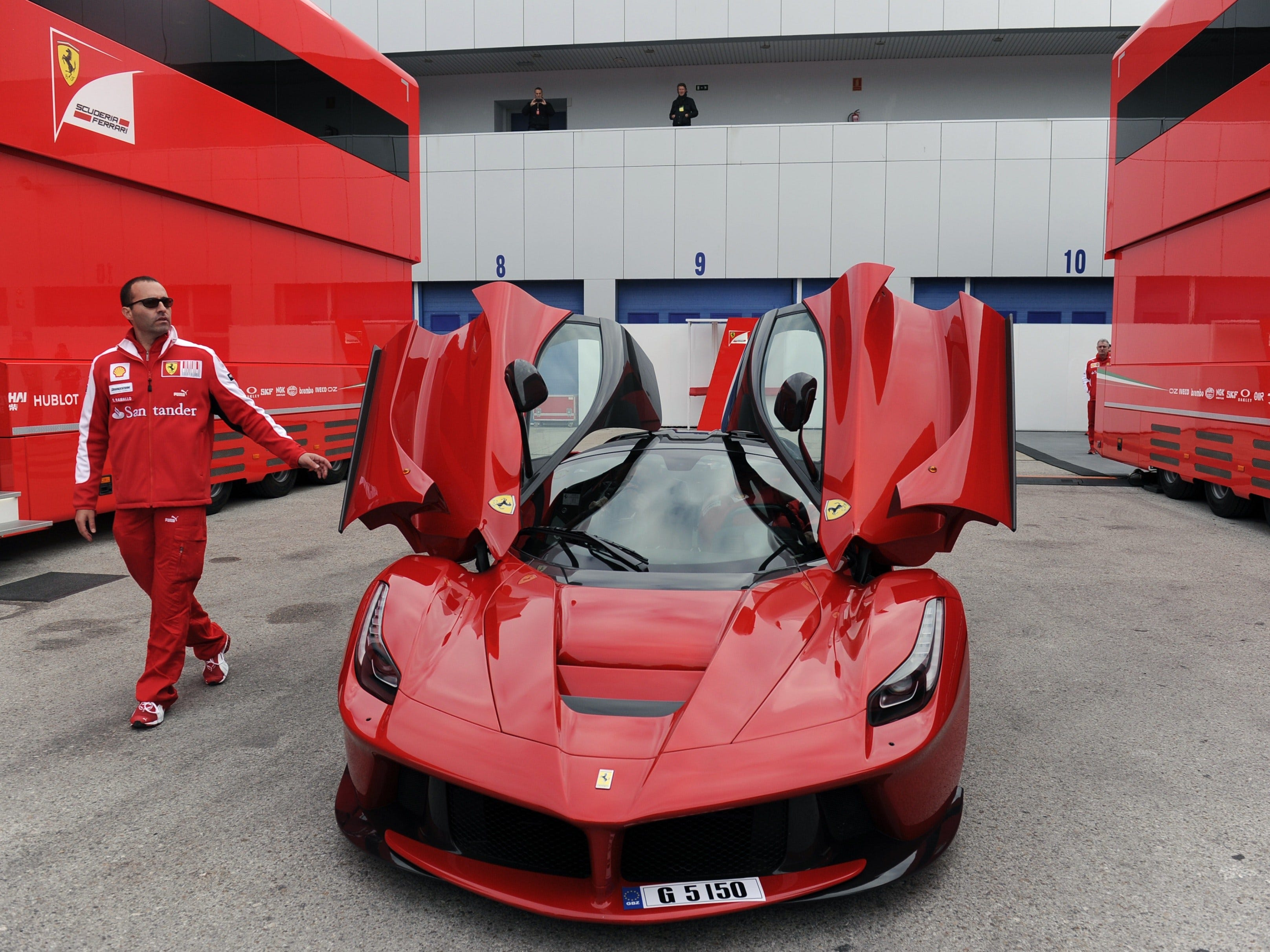 A LaFerrari limited production hybrid sports is parked in the paddock during the Formula One pre-season tests at Jerez racetrack in Jerez,Spain on Feb. 2, 2015.