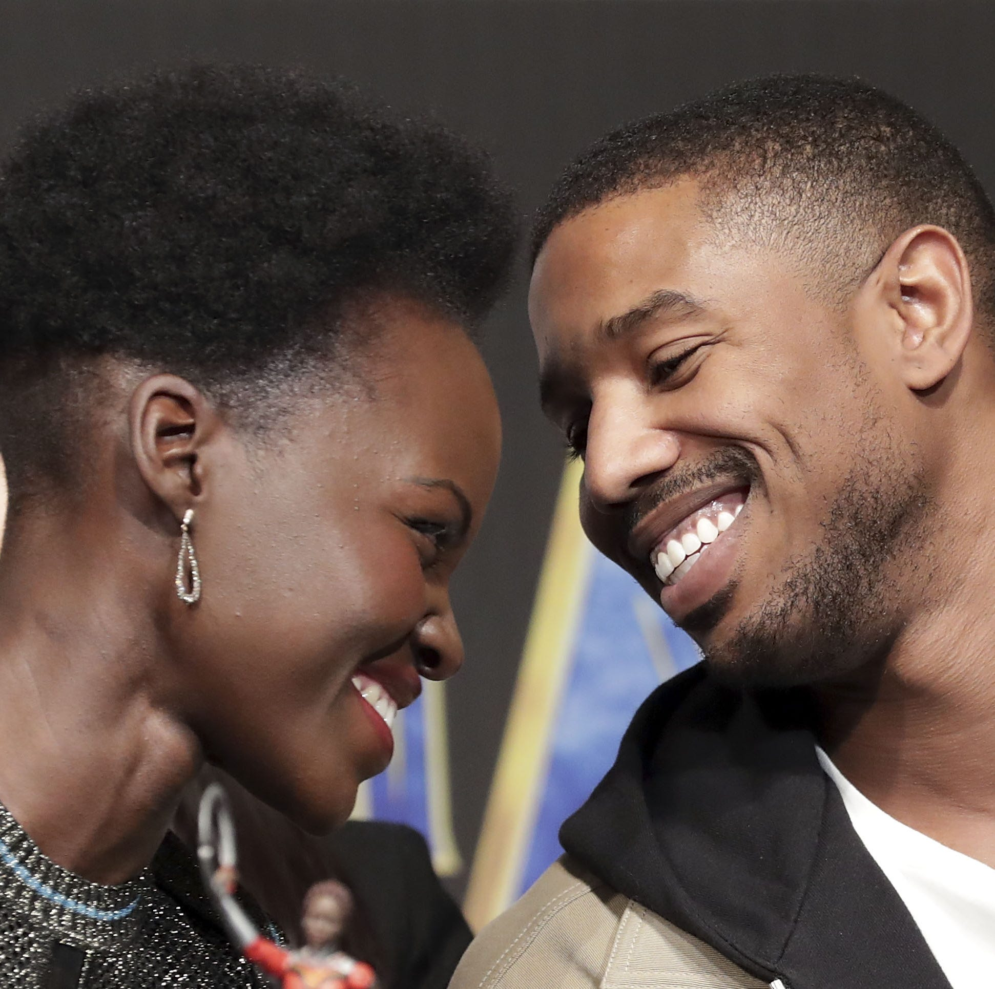 SEOUL, SOUTH KOREA - FEBRUARY 05:  Actor Lupita Nyong'o(L) and Michael B. Jordan attend the press conference for the Seoul premiere of 'Black Panther' on February 5, 2018 in Seoul, South Korea.  (Photo by Han Myung-Gu/Getty Images for Disney) ORG XMIT: 775111798 ORIG FILE ID: 914344104