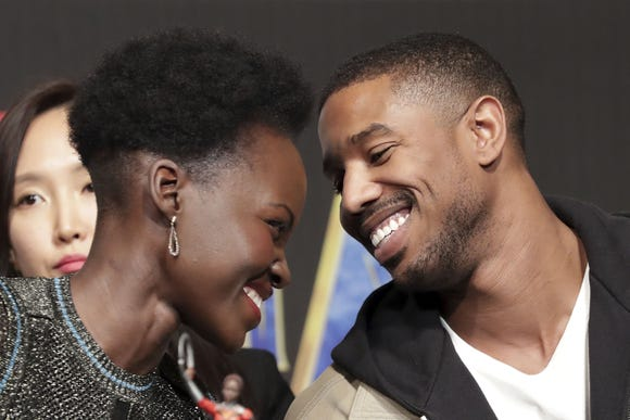"""""""Black Panther"""" co-stars Lupita Nyong'o, left, and Michael B. Jordan were all heart eyes promoting the superhero blockbuster earlier this year."""