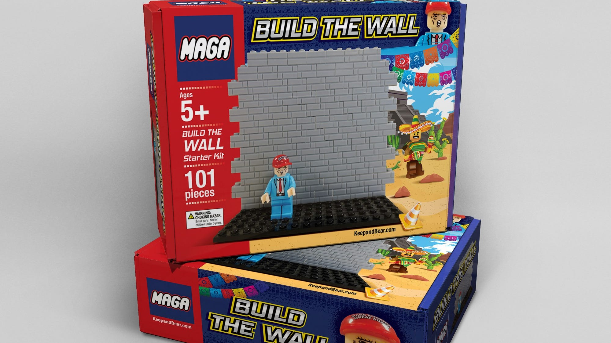 """Keepandbear.com, conservative retailer, will soon begin shipping a """"build the wall"""" toy that would allow children or adults to use building blocks to construct a border wall."""