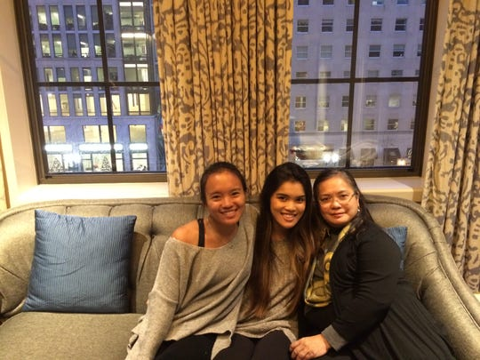 Kay Rodriguez (left) sits with her sister, Ellie (middle), and her mother, Carmen (right), in the St. Regis Hotel in Washington D.C.