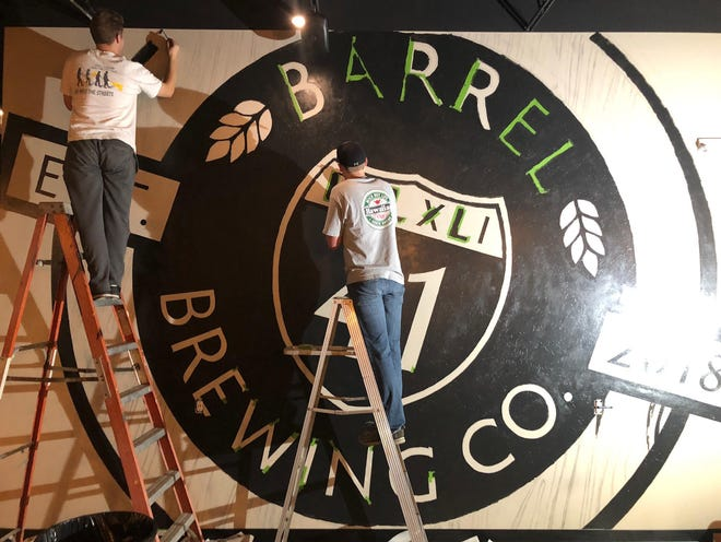 Barrel 41 Brewing Co.'s logo was designed by Ben Erickson, on left. His brother Sam helped him paint it on the wall of the new brewery in Neenah.