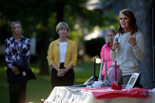 Recovery coach and advocate Nadine Machkovech speaks during the fourth annual Fox Cities Lights of Hope on Sept. 9, 2018, at City Park in Appleton. The event helps raise awareness of addiction.