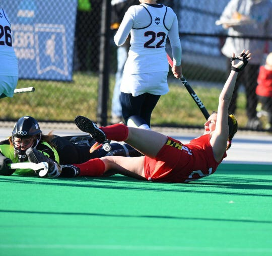 Madison Maguire celebrates her winning goal for Maryland field hockey in the NCAA Tournament quarterfinals.