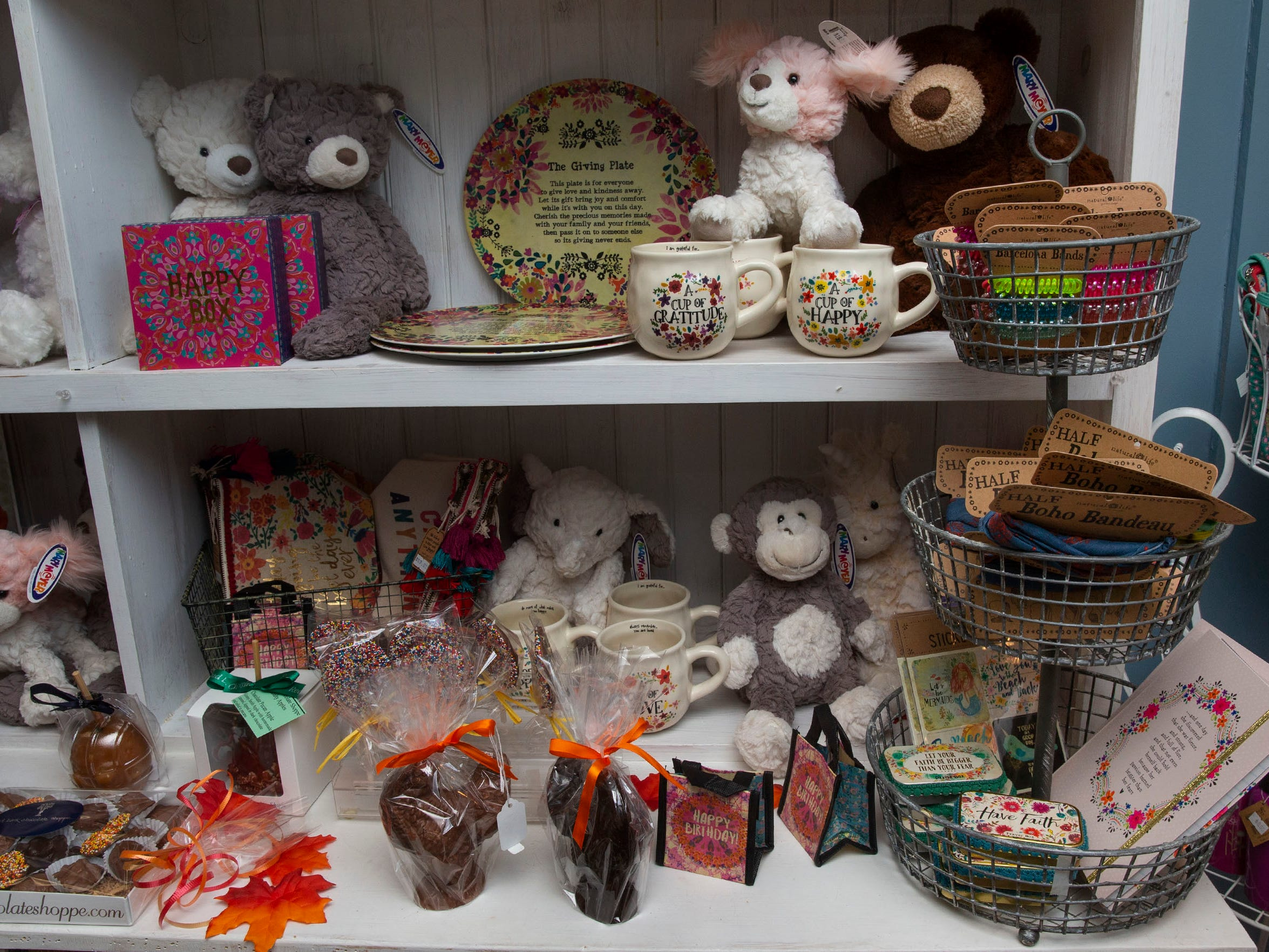Stuffed animals and other gifts for sale at the Red Bank Chocolate Shoppe, a Red Bank-based business owned by Amy Berry Healy, which provides a large range of different types of chocolate.