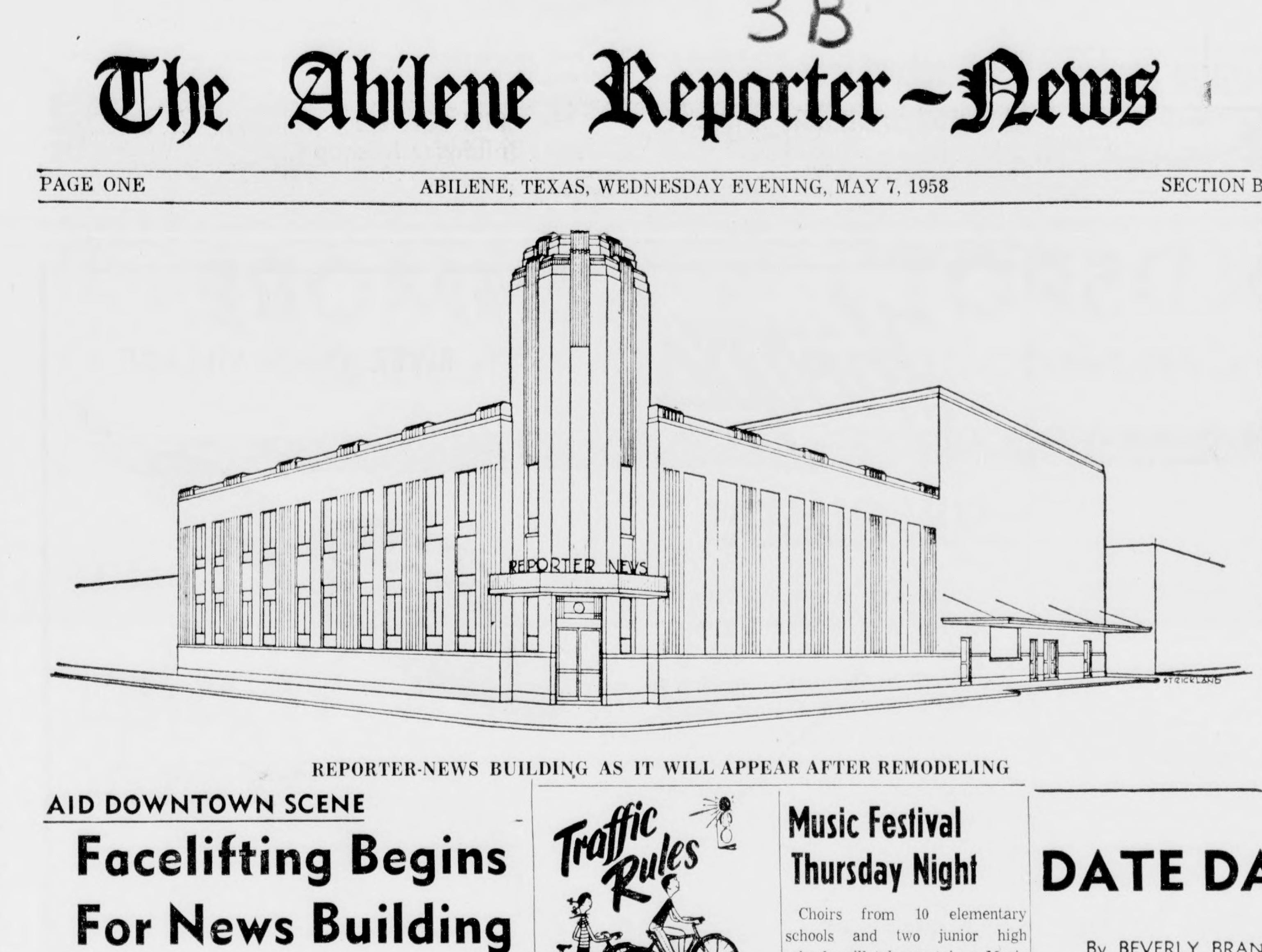 A sketch of the proposed facelift for the Abilene Reporter-News building in 1958.