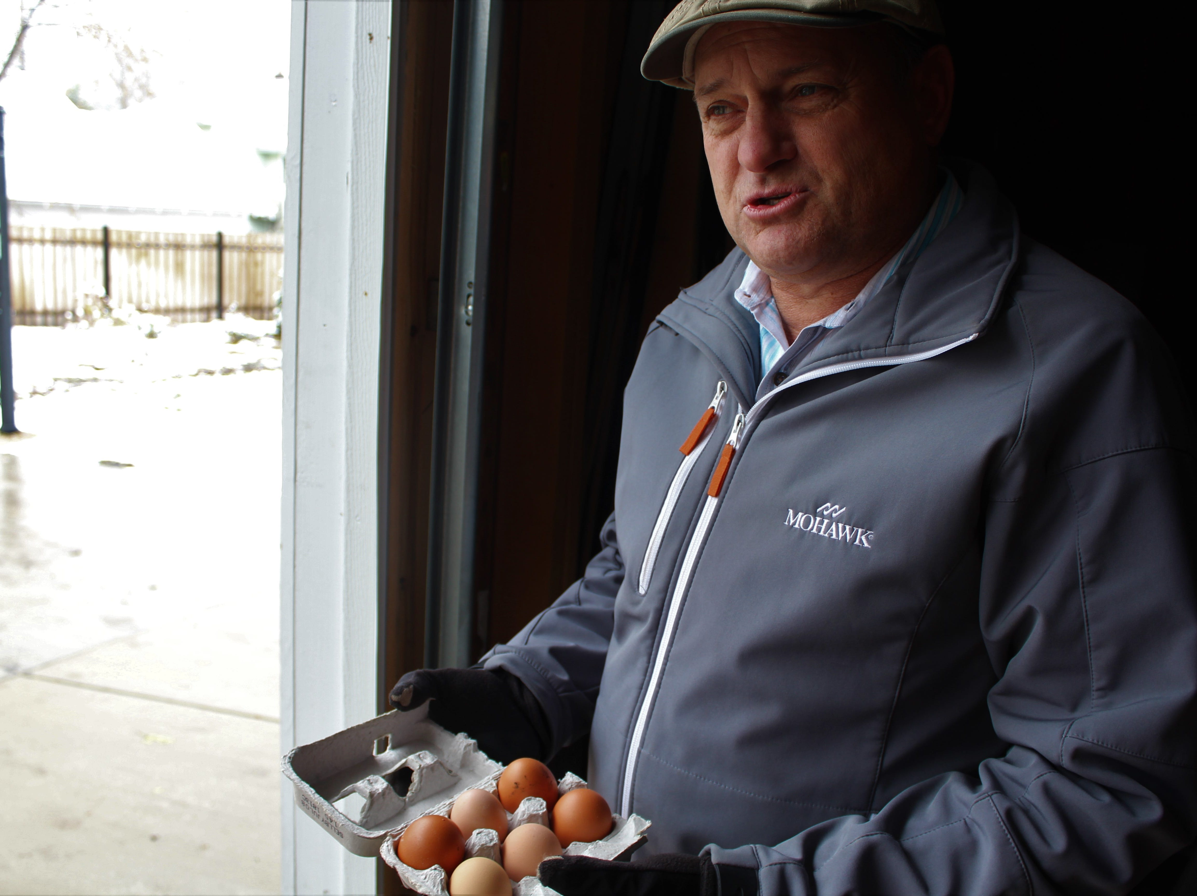 Hans Stark gets four eggs a day from his four hens.