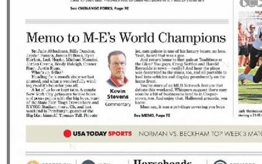The column reporter Kevin Stevens is especially glad to have produced came a month or so after Maine-Endwell's victory in the 2016 Little League World Series, in the form of a memo to the fellas who staged this terrific showing and how they'd best be prepared for life-changing impact their achievement would bring.