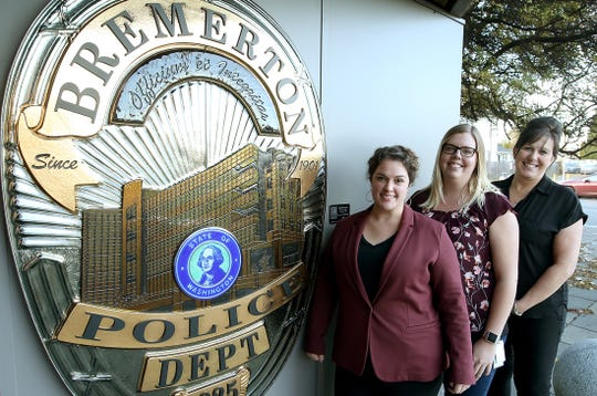Behavioral health navigators, from left, Melissa Stern, Kelsey Lynch and Laurel MacIntyre-Howard help police find