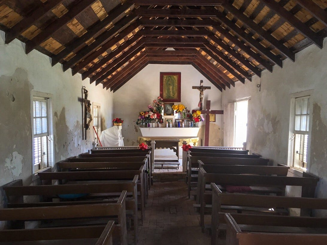 A bright altar is the centerpiece inside La Lomita Chapel in this August 2017 file photo. The Catholic Diocese of Brownsville is fighting a federal proposal to construct a border wall at the site outside Mission, Texas.
