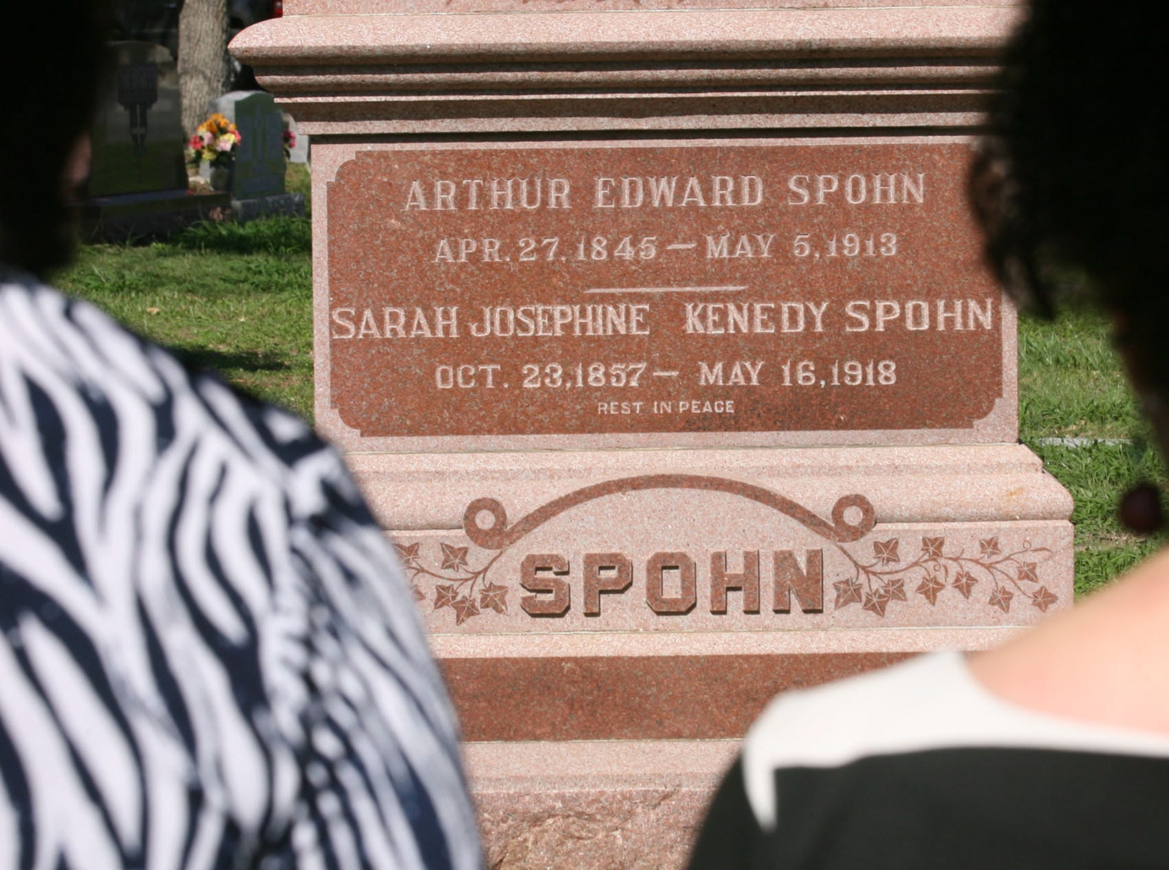 Visitors and Christus Spohn personal gather at the grave site of Dr Arthur Spohn to honor him on the 100th anniversary of his death in May 2013 at the Rose Hill Cemetery.