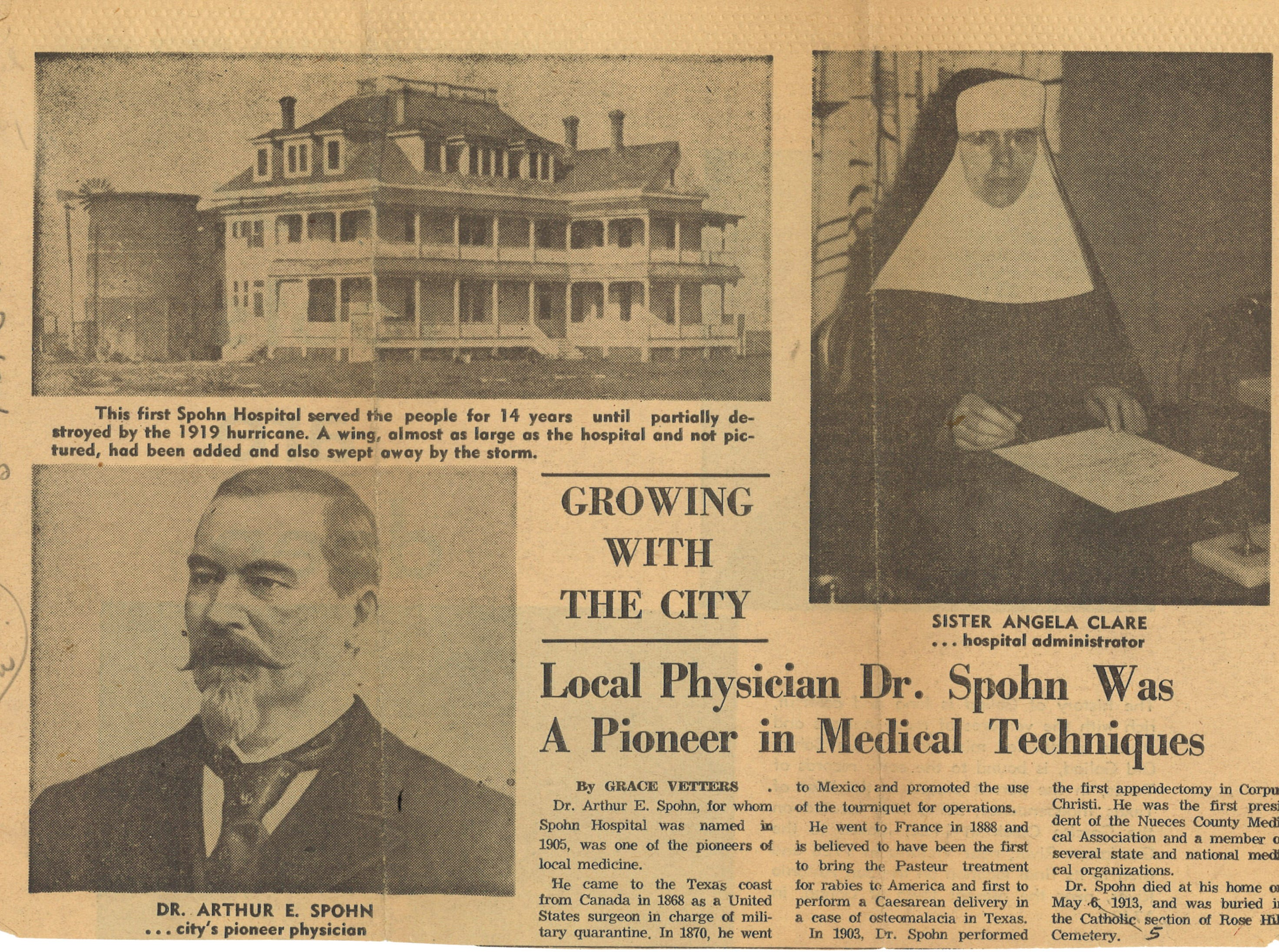 An article from the May 7, 1961 Caller-Times recalling Dr. Spohn's impact of Corpus Christi.