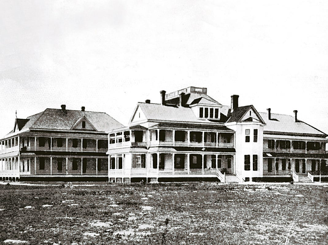 Spohn Sanitarium, created by Dr. Arthur Spohn, was located on North Beach in Corpus Christi. Dr. Spohn died in 1913 and the hospital was destroyed in the 1919 hurricane.