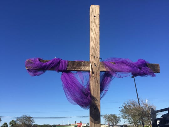Richard Perry's cross that he made and will be bringing across the country as he brings supplies.