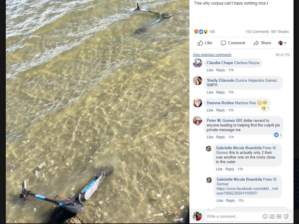 Scooters in the water - Is this why Corpus Christi can't have nice things?