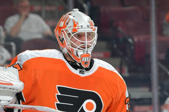 The Flyers will be without starting goalie Brian Elliott for the next two weeks. He got hurt in Thursday night's loss when Kyle Palmieri scored in the third period.