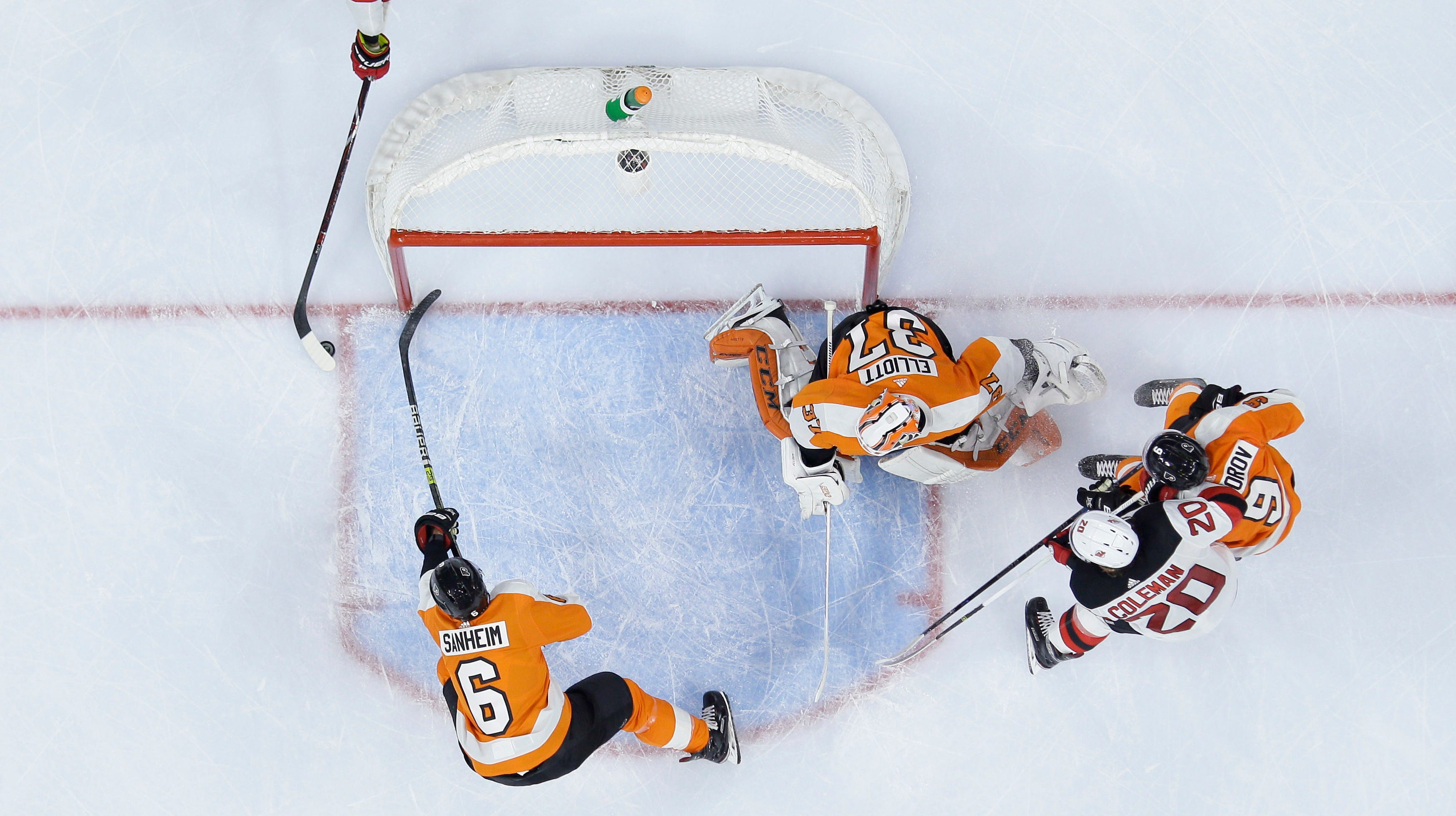 Kyle Palmieri's goal in the third period was the final straw for Brian Elliott, who left the game with an injury.
