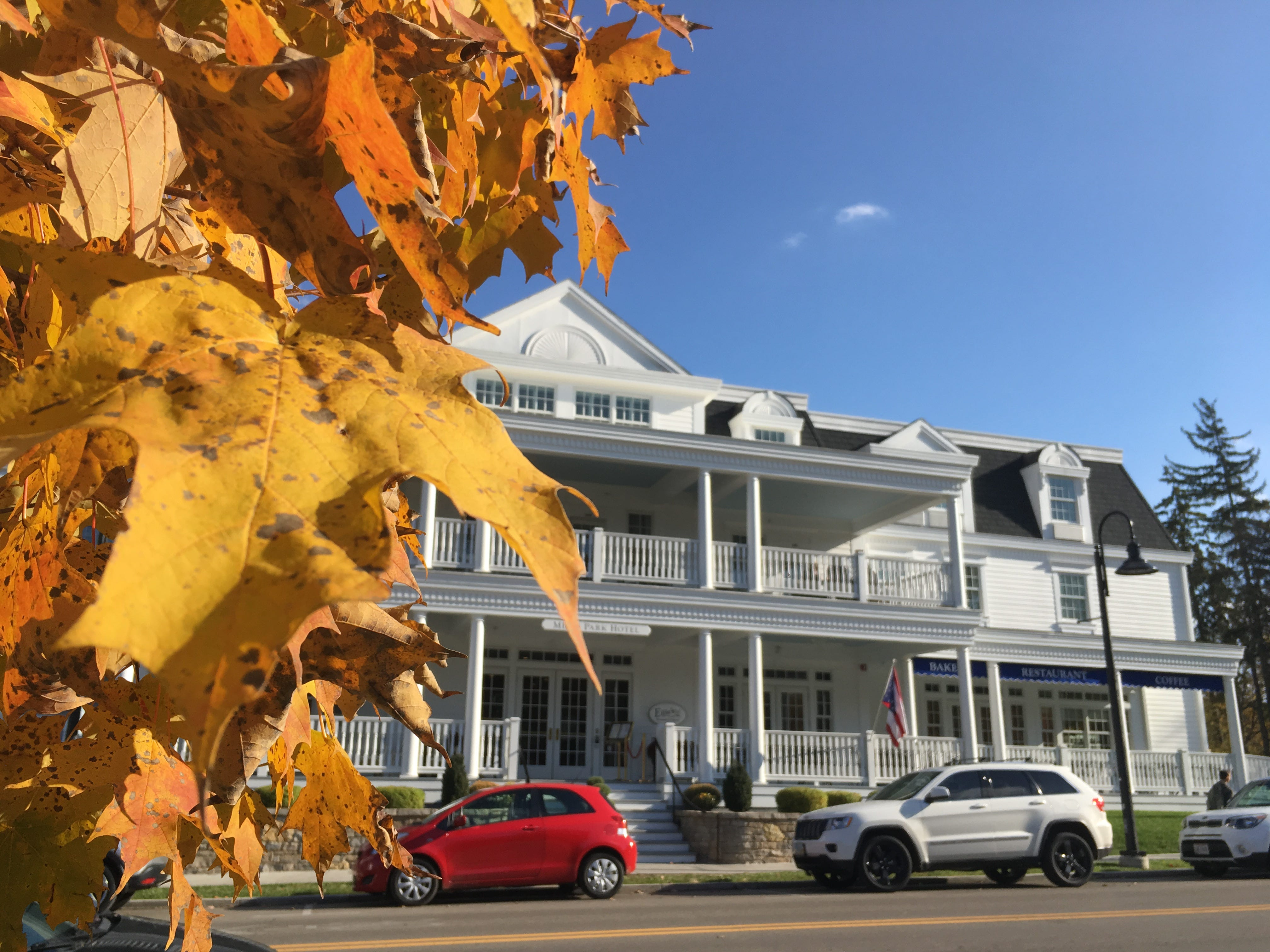 Mills Park Hotel is a newer addition to Yellow Springs and includes a dining option: Ellie's Restaurant.