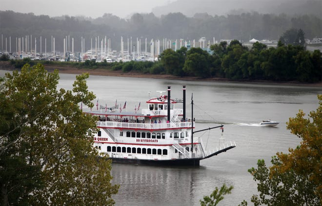 The River Queen, part of BB Riverboats, makes its way down the Ohio River in 2013.