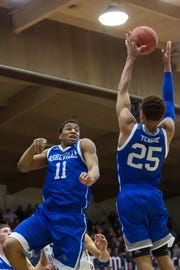 Jalen Seegars (11) averages 4.5 rebounds per game for UNC Asheville.