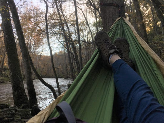 The Little Miami River is enjoyed with a pause and a hammock.