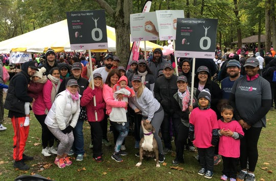 """Oticon employees make every step count at the American Cancer Society """"Making Strides Against Breast Cancer"""" walk, participating as a team in one of the region's largest breast cancer walks, held in Central New Jersey on Oct.21."""