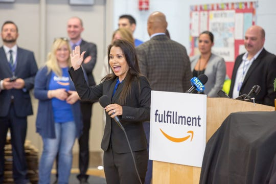 Amazon associates from the company's Carteret fulfillment center surprised 750 teachers and students at Columbus Elementary School with more than $25,000 in science, technology, engineering and mathematics (STEM) learning items and grants to support the school's new T.H.I.N.K. Tank program