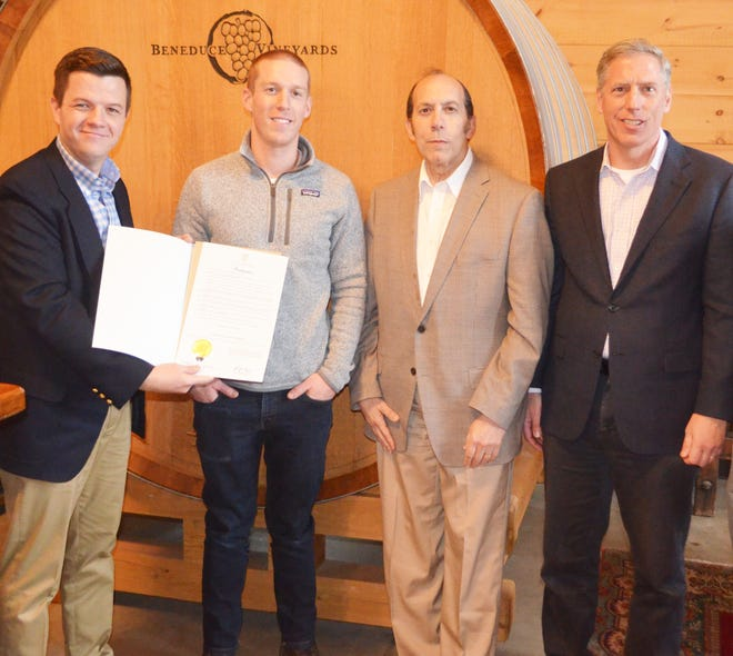 NJDA Marketing and Development Division Director Tom Beaver, Beneduce Vineyards Manager and Winemaker Mike Beneduce Jr., Garden State Wine Growers Association Executive Director Tom Cosentino and District 23 Assemblyman Erik Peterson.