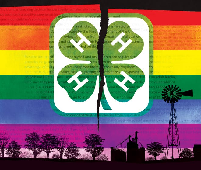 An illustration for a Register exclusive on how Trump administration pressures played a role in the firing of Iowa's 4-H leader.