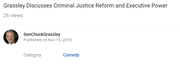 Sen. Chuck Grassley's YouTube video and Category label.