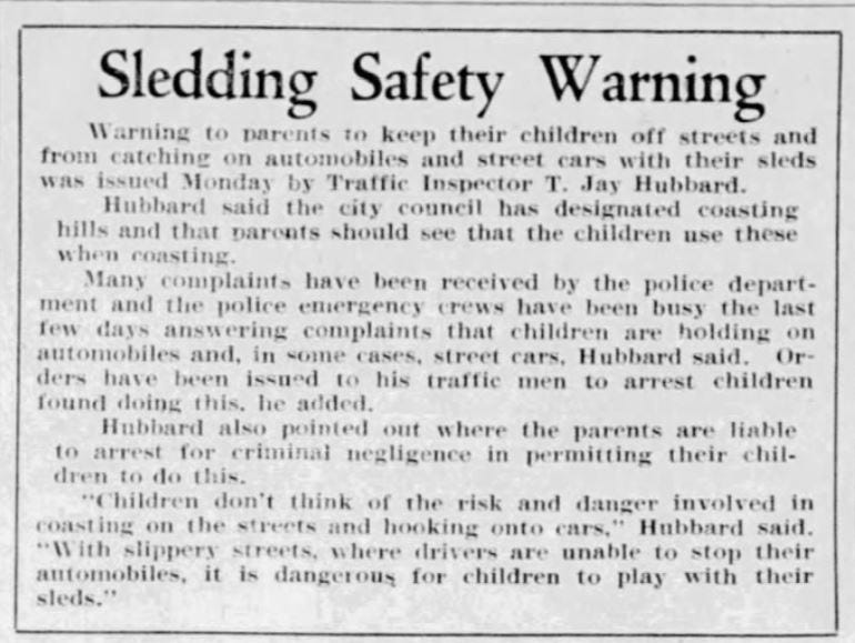 This warning about sledding safety ran in the Jan. 20, 1931 Des Moines Tribune.