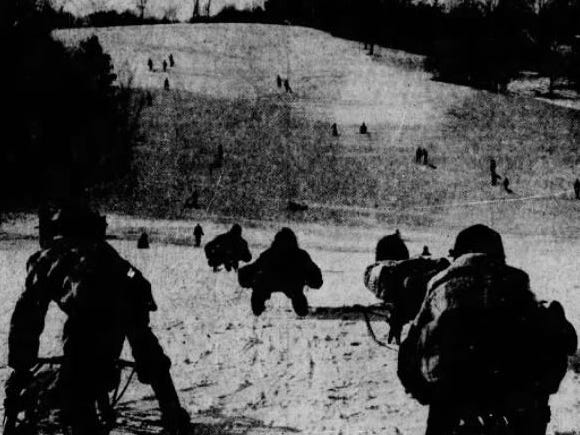 From Jan. 1, 1955 Des Moines Register: Sleds dot the hills at Waveland Park Golf Course as Des Moines youngsters by the hundreds take advantage of recent snow.