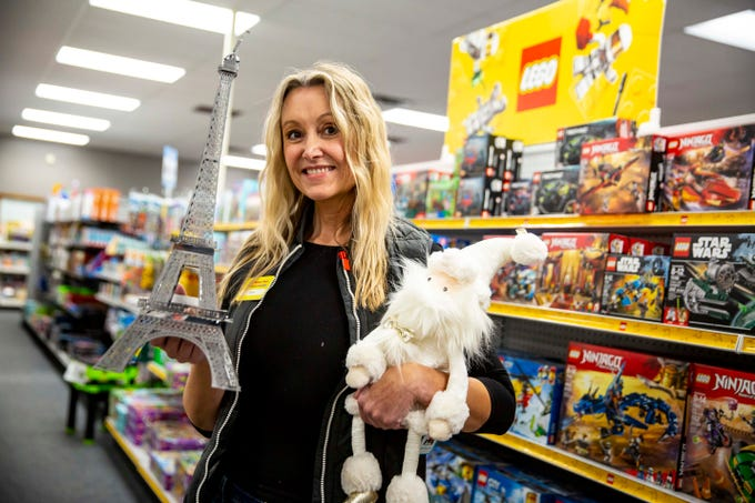 Kym Howe, owner of The Learning Post and Toys in Urbandale, Iowa, Thur. Nov.15, 2018. Since Toys R Us has closed, Howe has been increasing the toy selection at her shop, which formerly focused on teacher and educational supplies.