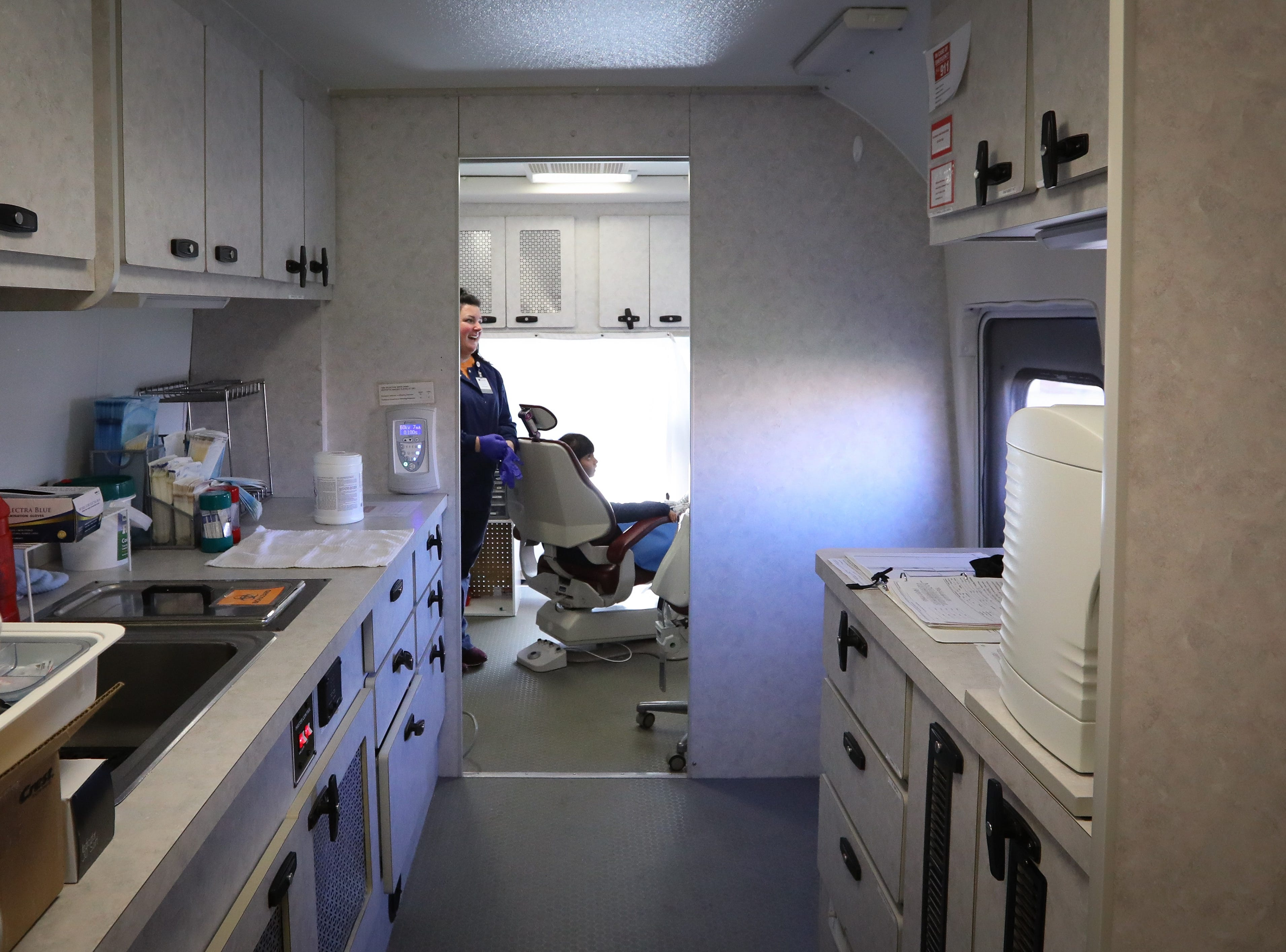A general view of the interior of the Dental Connections mobile unit at Karen Acres Elementary School on Nov. 15, 2018 in Urbandale, Iowa. Dental Connections is a mobile unit that provides basic dental check-ups for students. Jenny Villegas, the school's nurse, spearheaded the program for students to receive dental services who may not otherwise receive them.