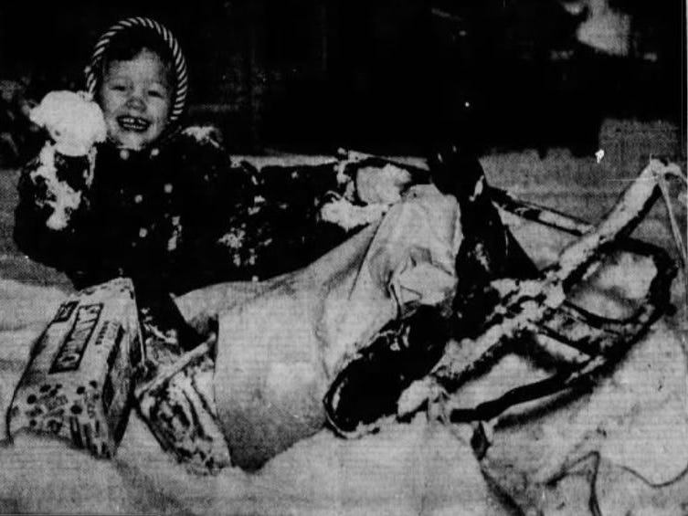 From Dec. 2, 1955 Des Moines Register: There was tough going everywhere in Des Moines after a 3-inch snowfall -- even on a sled. Melody Jones, the 4-year-old daughter of Mr. and Mrs. William Jones, was put in charge of the grocer ycargo aboard the sled her mother was pulling home from the store. This spill occurred in a big snowbank.