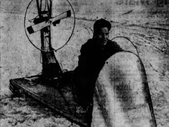 From Feb. 14, 1955 Des Moines Register: Boyd Murphy, 36, of Des Moines made good use of recent snow and ice with the homemade ice sled he built the previous summer. The sled weighs 300 pounds, has a 12-horsepower motor and ws made of crates, bicycle and auto parts, and four ice skates. Murphy, driving the sled on the Des Moines River near the Sixth Avenue bridge, said he could reach speeds of 40 to 45 mph.