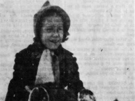 From Jan. 1, 1940 Des Moines Tribune: Elizabeth Myers, the 9-year-old daughter of Mr. and Mrs. Irving W. Myers of Des Moines, is shown sledding near her home on 48th Street.