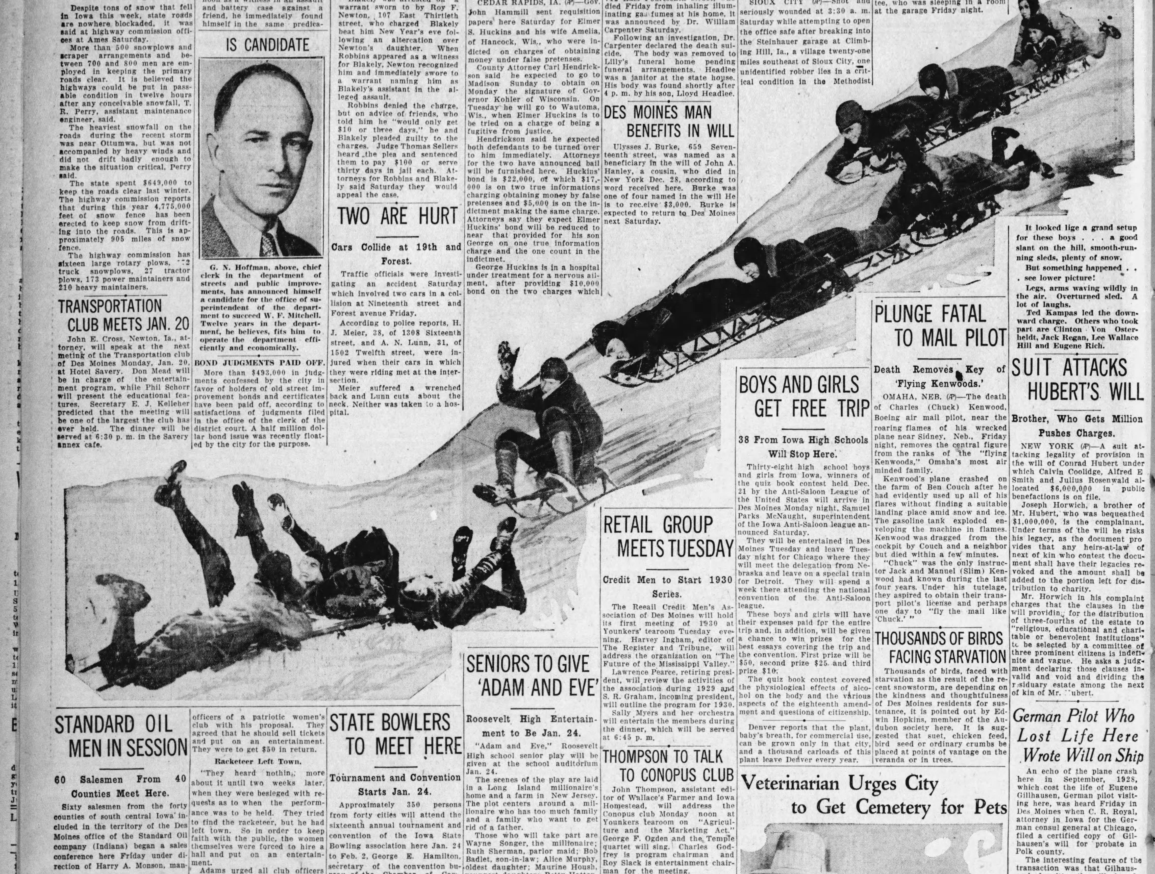 """The Jan. 11, 1930 Des Moines Tribune showed Des Moines boys having fun after a snow storm. """"Legs, arms waving wildly in the air. Overturned sled. A lot of laughs. Ted Kampas led the downward charge. Others who took part are Clinton Von Osterheldt, Jack Regan, Lee Wallace Hill and Eugene Rich."""""""