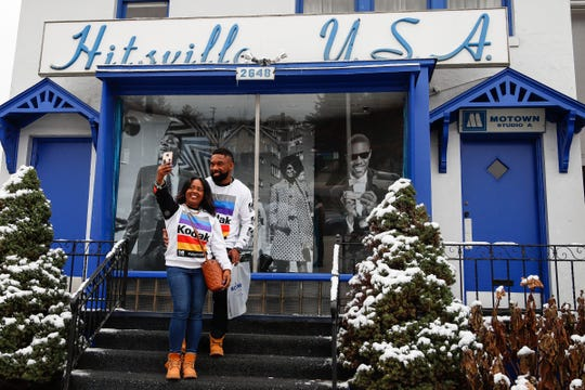 Blessing Gaddis and her finance Blessed Gaddis, both of Detroit, take a photo outside of the Motown Museum in Detroit, Tuesday, Nov. 13, 2018.