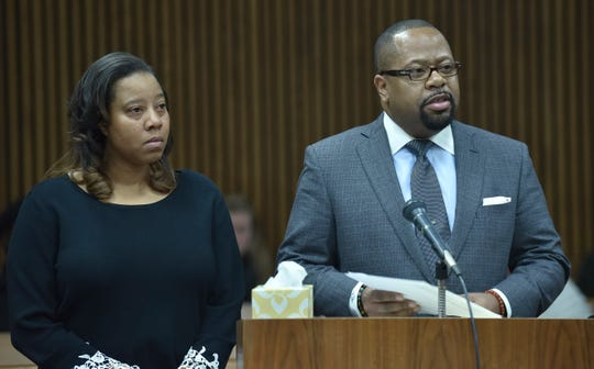 Natavia Crawford, left, and Nathaniel Crawford, mother and father of Daziah Crawford, keep their emotions in check as they read victim impact statements before Alyssa Verbeke's sentencing.