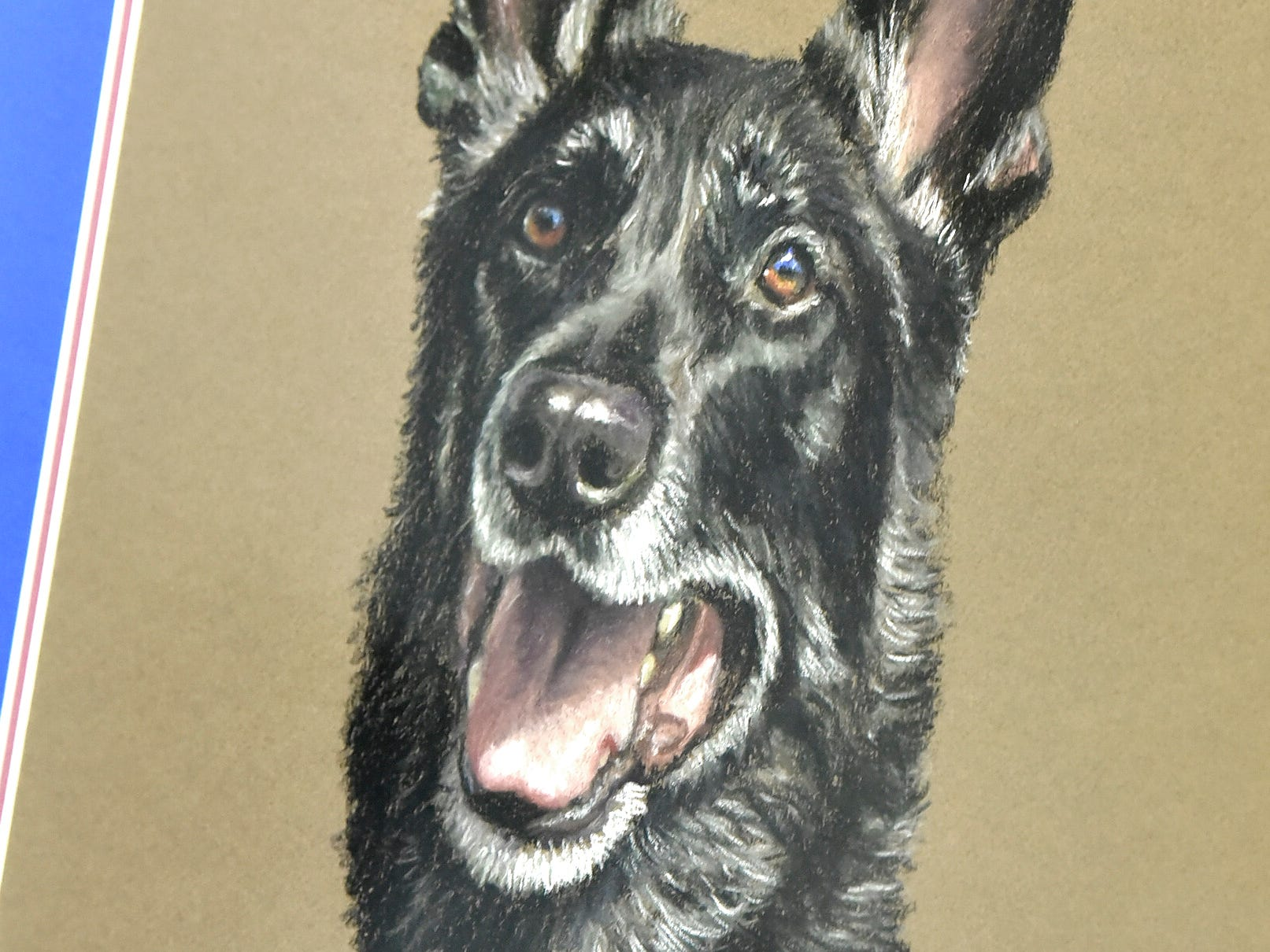 This painting of Chase is a retirement gift for K-9 officer Rich Heins, from the officers in his K-9 training group.