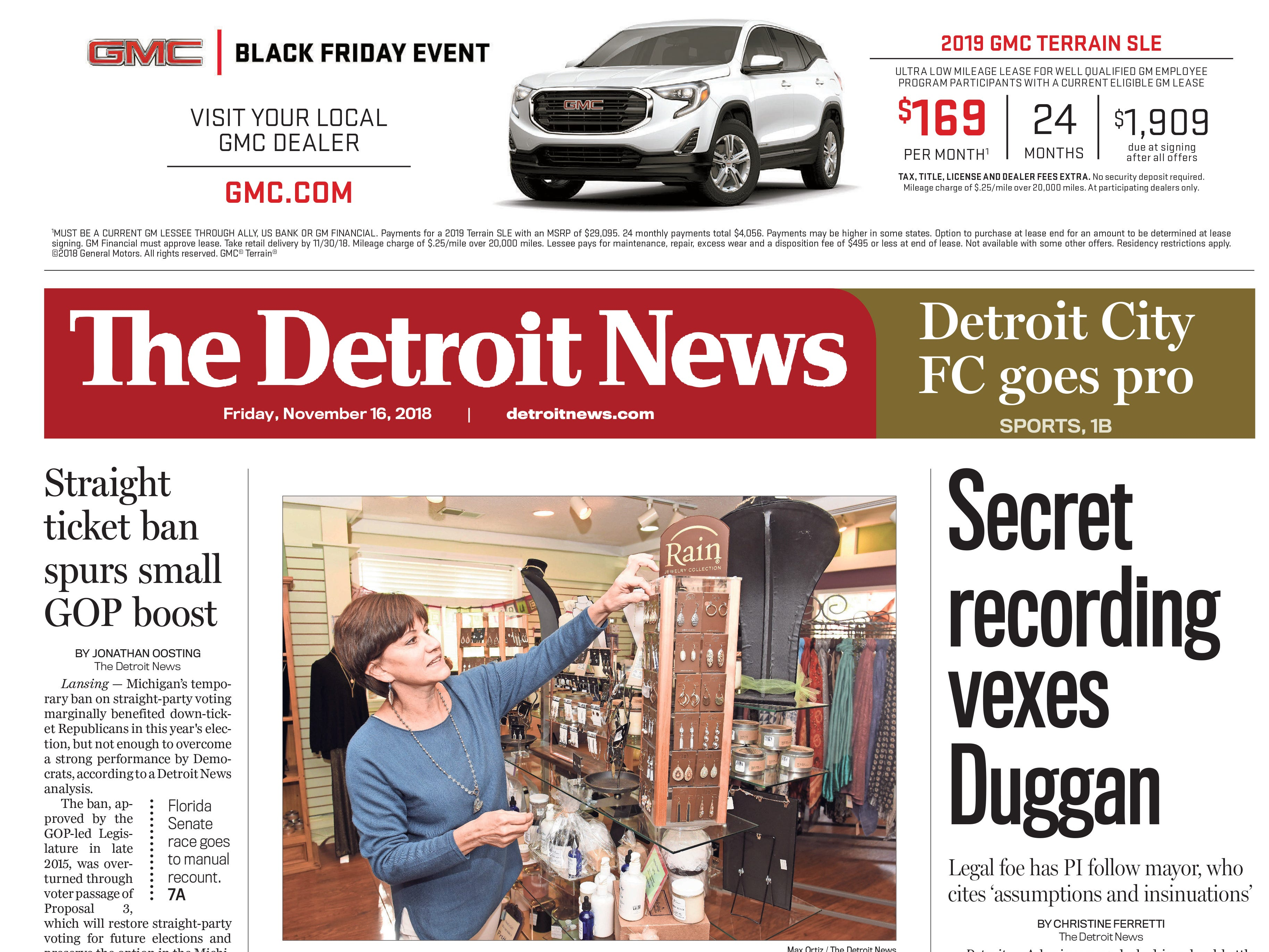 The front page of the Detroit News on Friday, November 16, 2008.