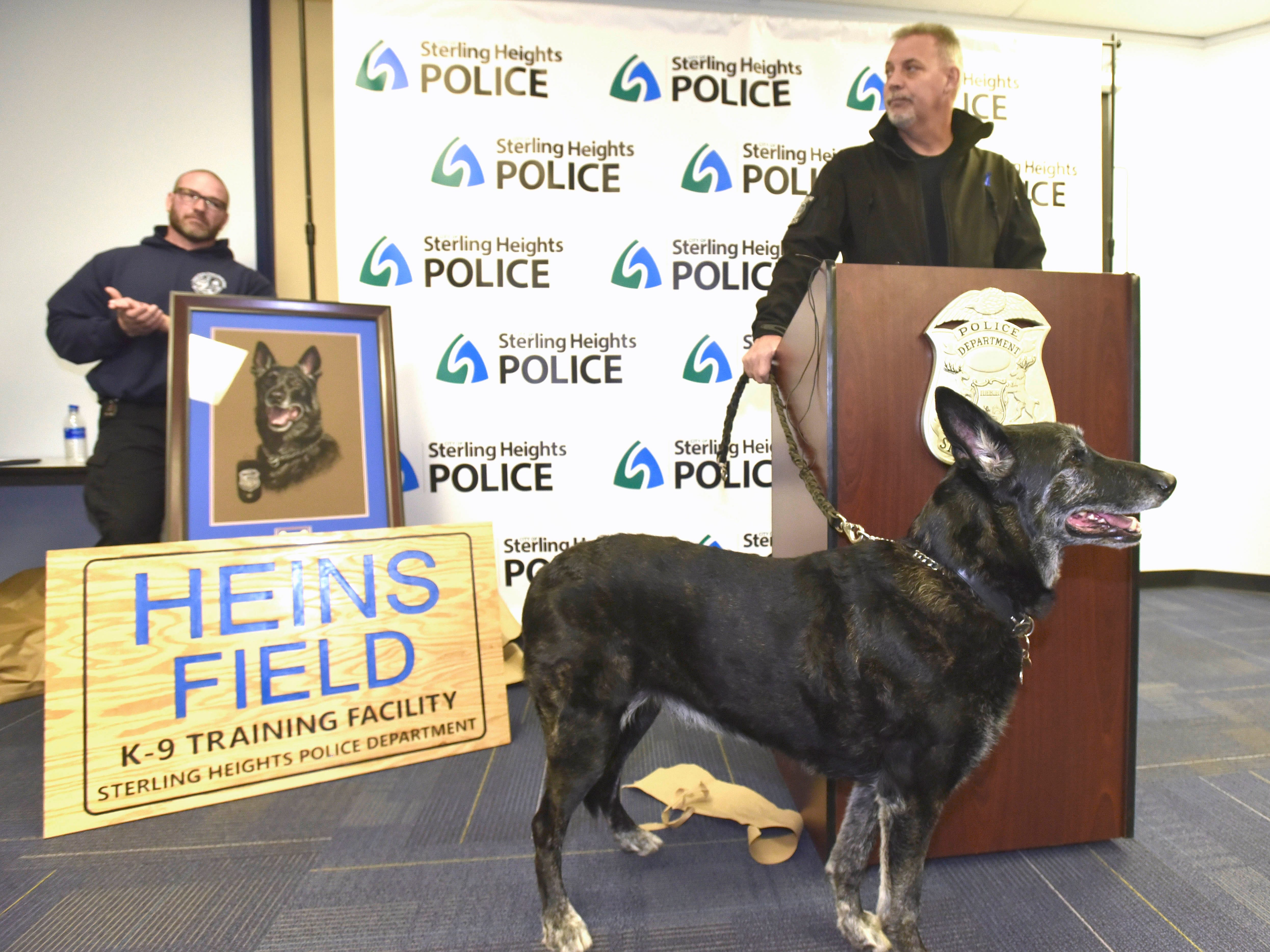 Sterling Heights Police K-9 Officer Rich Heins thanks everyone for attending Chase's retirement.